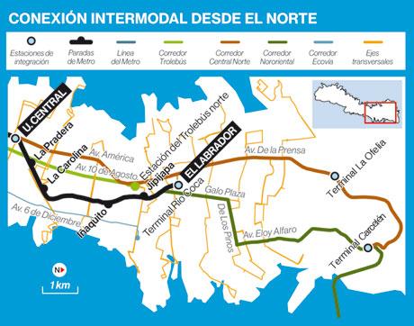 Infografía con rutas de transporte intermodal en el Norte de Quito