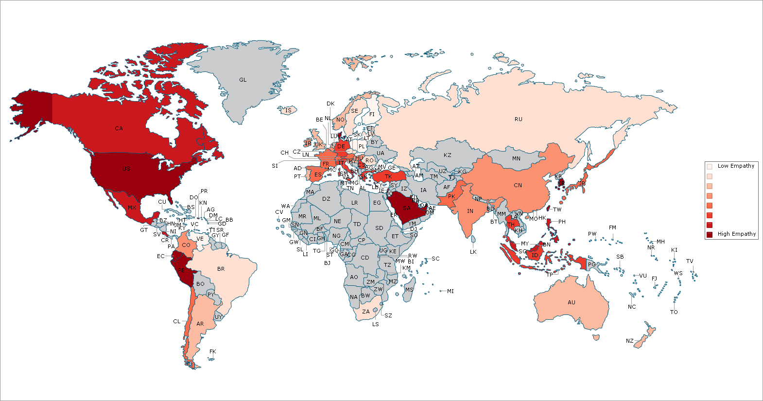 Mapa de la empatía en el mundo