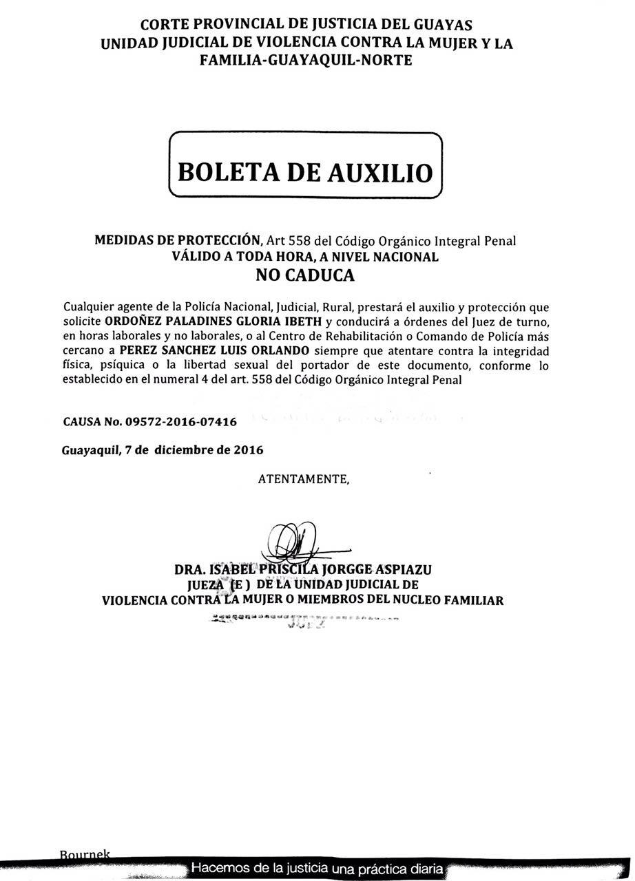 PDF: Boleta de auxilio a favor de Gloria Ordóñez