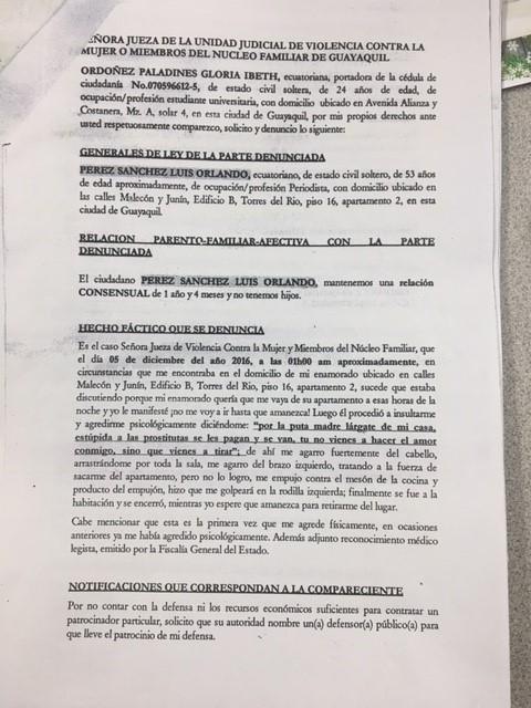 PDF: Denuncia presentada de Gloria Ordóñez pagina 01