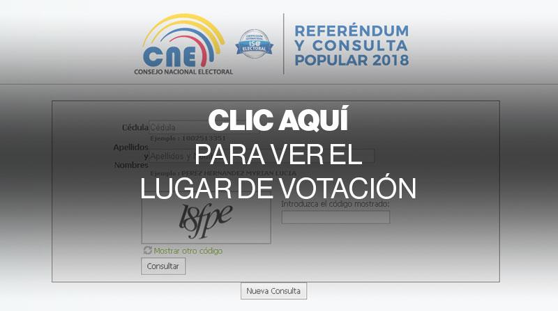 Aplicación del Consejo Nacional Electoral (CNE) para conocer el lugar de votación y si ha sido designado miembro de la mesa receptora del voto para la Consulta Popular del 2018. Fuente: www.cne.gob.ec
