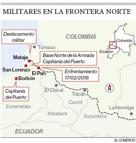 Mapa de la ubicación del enfrentamiento armado del 17 de febrero del 2018 en la frontera norte de Ecuador y Colombia.