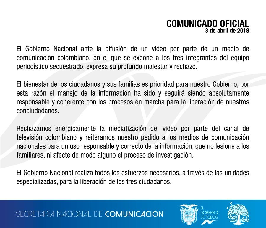 Comunicado de la Secretaría de Comunicación sobre la difusión de la prueba de vida desde Colombia.