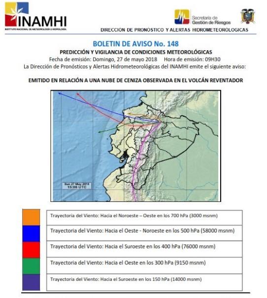 Boletín de aviso N. 148 del Instituto Nacional de Meteorología e Hidrología en relación a la circulación del viento en la zona del Reventador este 27 de mayo del 2018