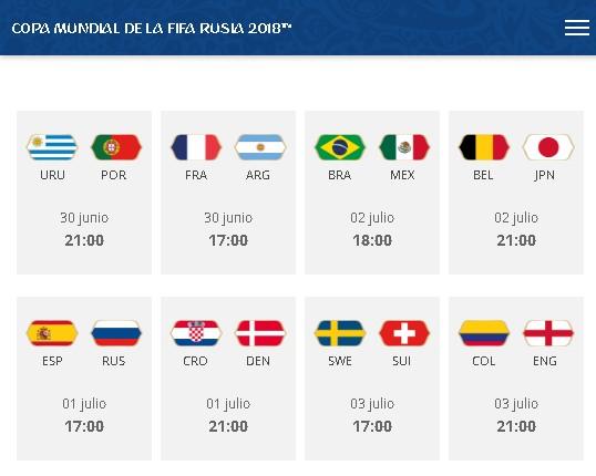 Partidos por fase de octavos de final del Mundial Rusia 2018 title=