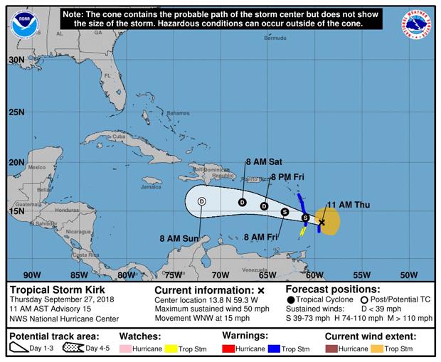 Kirk se disipa y Leslie se mantiene en el Atlántico y puede ser huracán