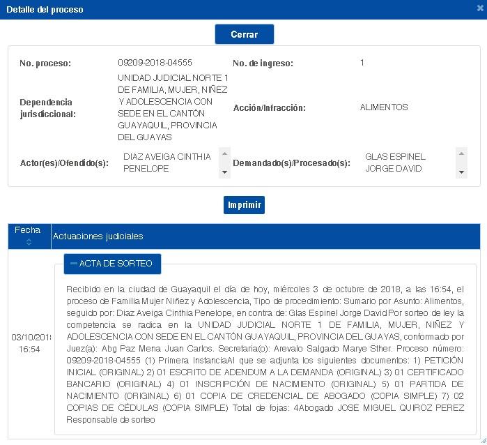 La demanda fue presentada por su esposa, Cinthia Díaz, el pasado 3 de octubre de 2018 en la Unidad Judicial Norte 1, de Familia, Mujer, Niñez y Adolescencia con sede en el cantón Guayaquil.