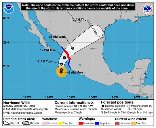 Pronóstico del Centro Nacional de Huracanes (NHC) de EE.UU. de cinco días del huracán Willa, que alcanzó la categoría 5 en la escala Saffir-Simpson. Fuente: EFE / NHC