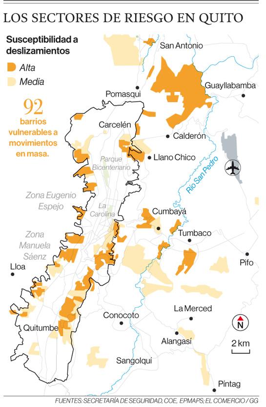 Sectores de riesgo en Quito