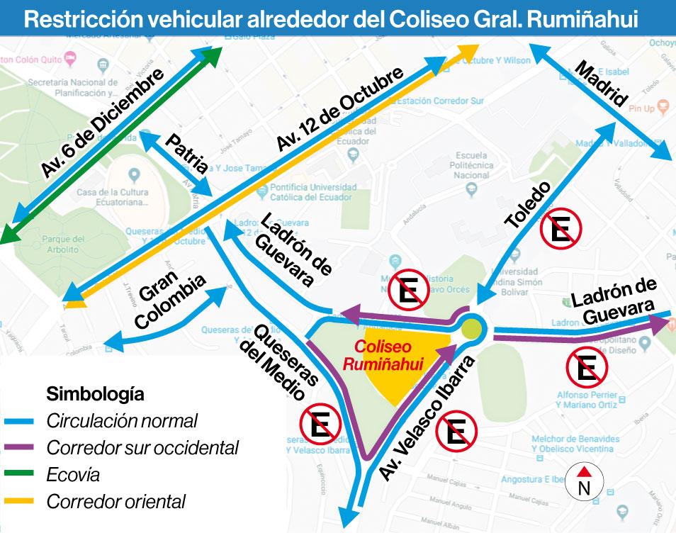 8 vías alrededor del Coliseo Rumiñahui tendrán restricción por un concierto este sábado 9 de febrero