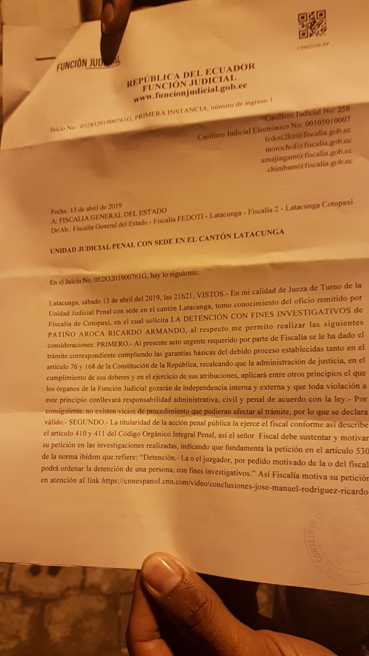 Orden de jueza de Latacunga Beatriz Benitez que niega la detención de Ricardo Patiño