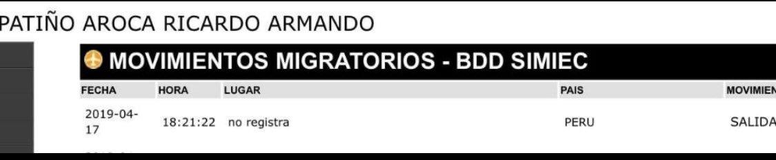 Registro de movimientos migratorios de Ricardo Patiño