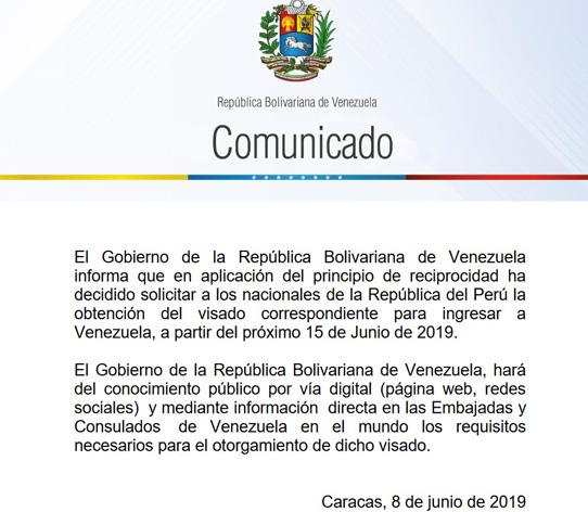 Venezuela exigirá visa a peruanos en 'reciprocidad'