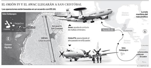 Naves de EE.UU. ocuparán pista de aeropuerto de Galápagos una vez al mes