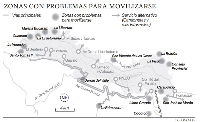 Zonas con problemas para movilizarse