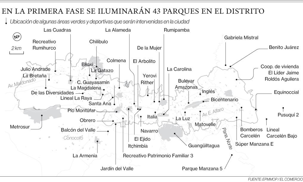 Falta de luz en parques intimida a vecinos en Quito