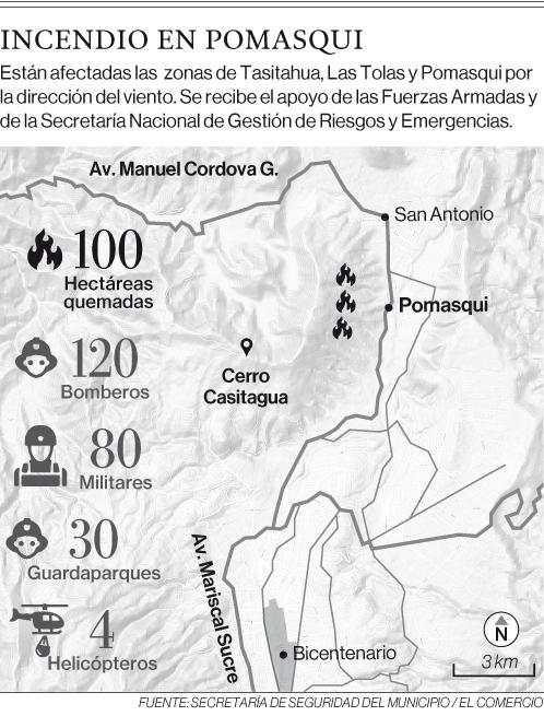 230 personas combaten incendio forestal en el cerro Casitagua