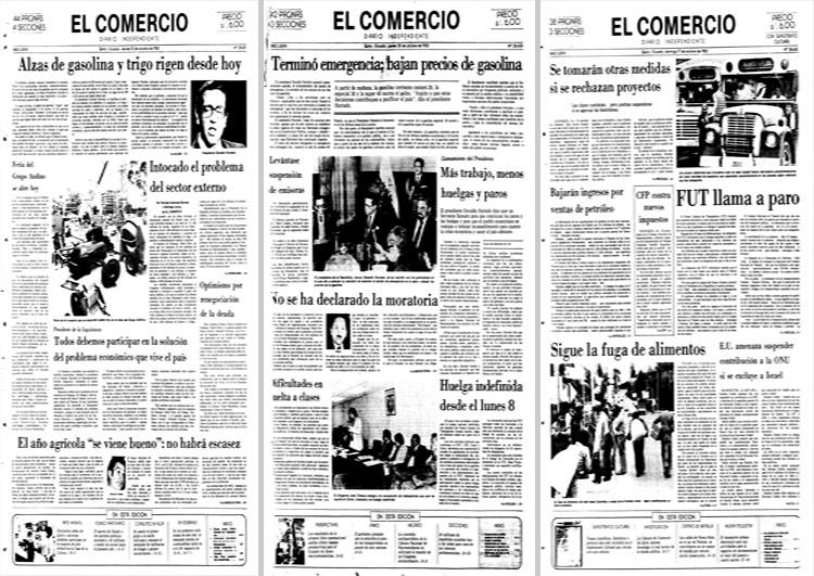 Portadas de EL COMERCIO