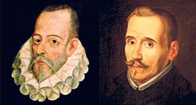 Miguel de Cervantes (Izq.) y Lope de Vega (der.)