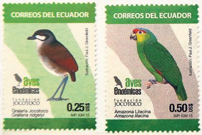 Aves endémicas es el sello postal